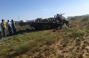 Two men were killed and two others injured after two trucks collided head-on on the N14, 30km outside of Upington in the Northern Cape.