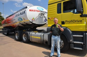 Eugene Herbert, CEO of the MasterDrive Group - of which MasterTrucker is a division - toasts the end of truck rollovers  should companies take advantage of this world-class Truck Rollover Prevention driver training programme.