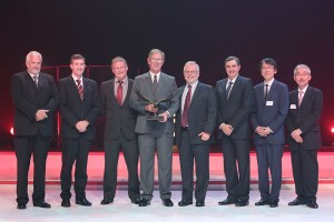 Hino Midrand is the 2015 Hino Dealer of the Year. Seen at the awards ceremony are (from left): Calvyn Hamman, Senior Vice President, Sales and Marketing Toyota SA Motors (TSAM); Andrew Kirby, Executive Vice President and Chief Operating Officer, TSAM; Steve Keys, CEO Bidvest Automotive; Hennie De Villiers, Group Managing Director of McCarthy Hino Dealerships and Dealer Principal of Hino Midrand; Trevor Herbert, CEO of the Toyota and Hino franchises for Bidvest Automotive; Dr Johan van Zyl , President and CEO, TSAM; Yu Asano, General Manager Africa Division, Toyota Motor Corporation (TMC); and Hitoshi Muramoto, Executive Vice President and Chief Co-ordinating Officer