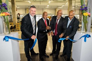 5.From left to right: MBSA CEO and Executive Director Manufacturing, Mr. Arno van der Merwe, Eastern Cape Premier, Mr. Phumulo Masualle, Deputy Minister Of Finance, Mr. Mcebisi Jonas and Buffalo City Metropolitan Municipality Executive Mayor, Cllr. Alfred Mtsi cutting the ribbon which marked an official opening of the Mercedes-Benz Learning Academy (MBLA).