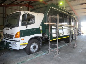 A 16-passenger body being built on a Hino 1626 chassis-cab for use as a safari vehicle by Drifters. The manufacturing and assembly of the special body all takes place at Drifters' facility near Muldersdrift, Gauteng.