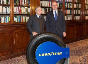 Jean Todt, President of the FIA, and Davide Califano, Director Marketing Activation Commercial Tyres at Goodyear Europe.