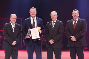The runner-up award in the 2015 Hino Dealer of the Year contest went to Hino Oranje. Seen in the photo are (from left): Casper Kruger, Vice-President Vehicle Sales and Dealer Network, TSAM; Erwin Stolze, Dealer Principal, Hino Oranje; Ernie Trautmann, Vice President, Hino SA; and John Oliver, Vice President - Customer Services, TSAM.