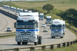 An impressive sight as part of the convoy of 101 Mercedes-Benz Actros trucks made their way to the Shongweni Equestrian Club for the official handover.