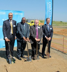 At the soil turning ceremony of Phase 2 were, from left: Riaz Haffejee (CEO: SRSA); Michael Mabuyakhulu (MEC for Economic Development, Tourism and Environmental Affairs): Dr Rob Davies (Minister: Department of Trade and Industry); and Yutaka Kuroda (Executive Director, Sumitomo Rubber Industries Ltd).