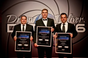Winners from left to right:   Cornel Oelofse,  Brand Centre Manager, Sandown Commercial Vehicles, Roodepoort.   Gerhard Rossouw, Brand Centre Manager, Mercedes-Benz Commercial Vehicles, Centurion.   Enrico Botha, Dealer Principal, John Williams Motors Commercial Vehicles,  Bloemfontein