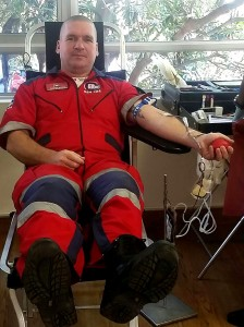 Derrick Banks, ER24 Hillcrest branch manager, donates his 50th unit of blood. He has urged all who are eligible to donate a pint during this National Blood Donor Month.