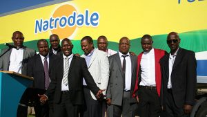 A group of the owner driver entrepreneurs at the handover ceremony of the additional vehicles at Adcock Ingram Healthcare in Midrand. Apart from one Scania to be used for long hauls, all the additional vehicles are Isuzu trucks.