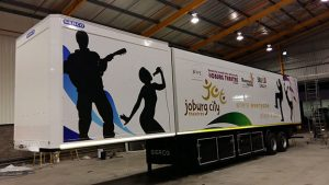 The new 15.5m trailer Serco built so that the Joburg Theatre can take the joys of stage productions to communities.