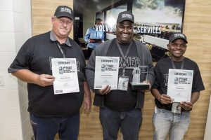 The top three drivers in Volvo Truck South Africa's Most Fuel Efficient Driver competition were, from left: Edward Bierman from Franco Bulk Transport (placed second); winner Dharmendra Arejune from Mersey Trading and third placed Thokozane Nene from Normandien Farms. Congratulations!