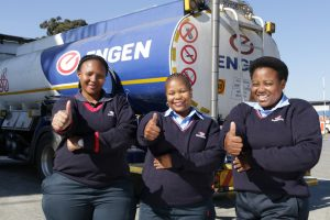 Engen women drivers at Langlaagte Depot – left to right: Palesa Modiselle, Tebogo Sekowe and Nomagugu Dlamini