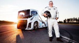 "Behind the wheel of the Iron Knight was car and truck racing driver Boije Ovebrink, who beat the previous records he set in the hybrid ""Mean Green"" truck."