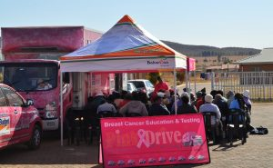 A group of women being educated on the various types of cancers, early lump detection and clinical examinations. Bakwena Platinum Corridor Concessionaire has teamed up with the PinkDrive Breast Cancer Initiative and the Department of Health during Women's Month to spread the message of early detection.