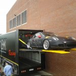 One of the Hendok cars being loaded into the trailer built by Serco.