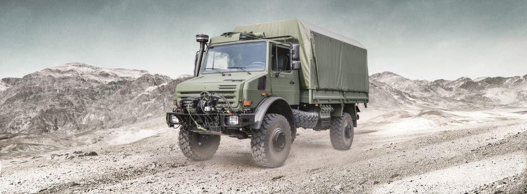 Mercedes benz trucks displays at aad exhibition fleetwatch for Mercedes benz military vehicles