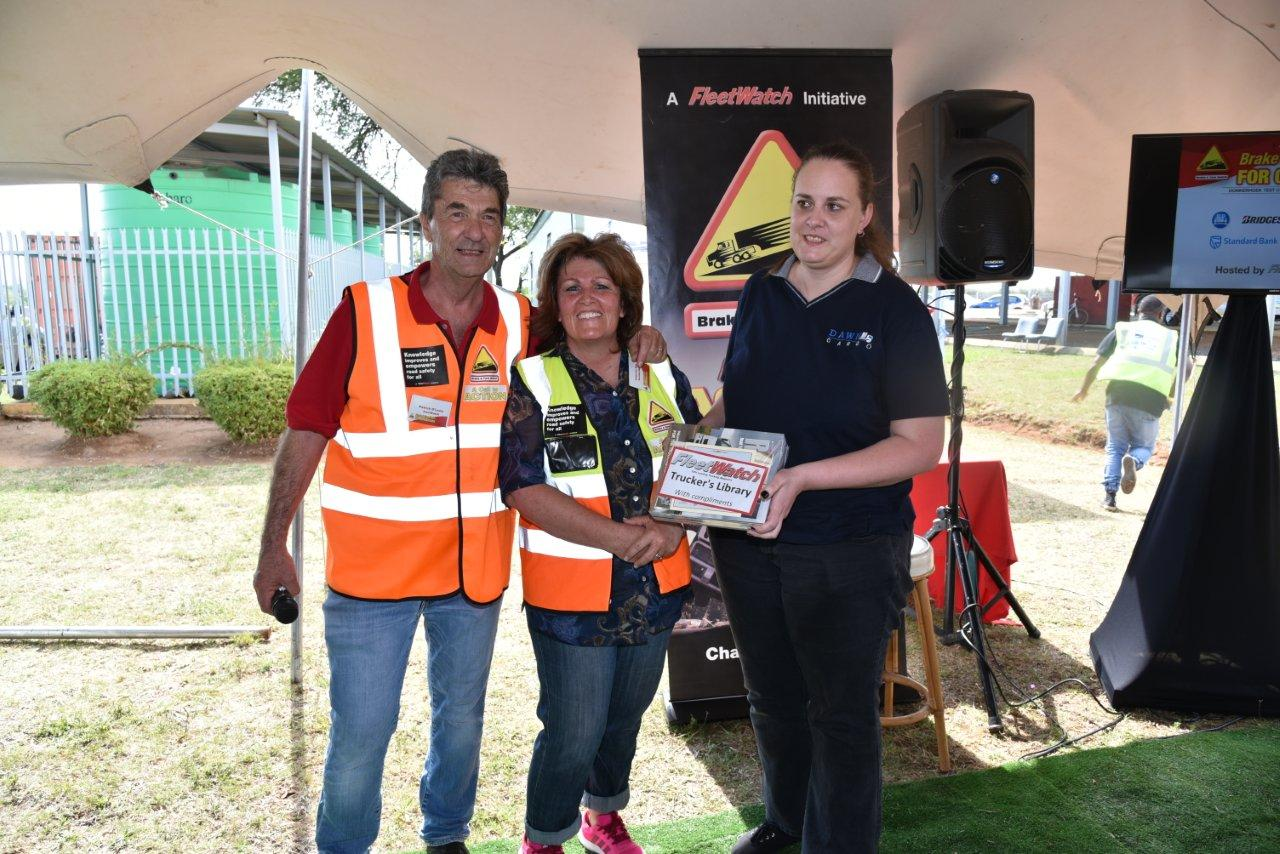 Prizes were awarded for attentive listening (from left to right) Patrick O'Leary of FleetWatch, Kathy Bell of Standard bank and Lizette Louw of Dawn Logistics