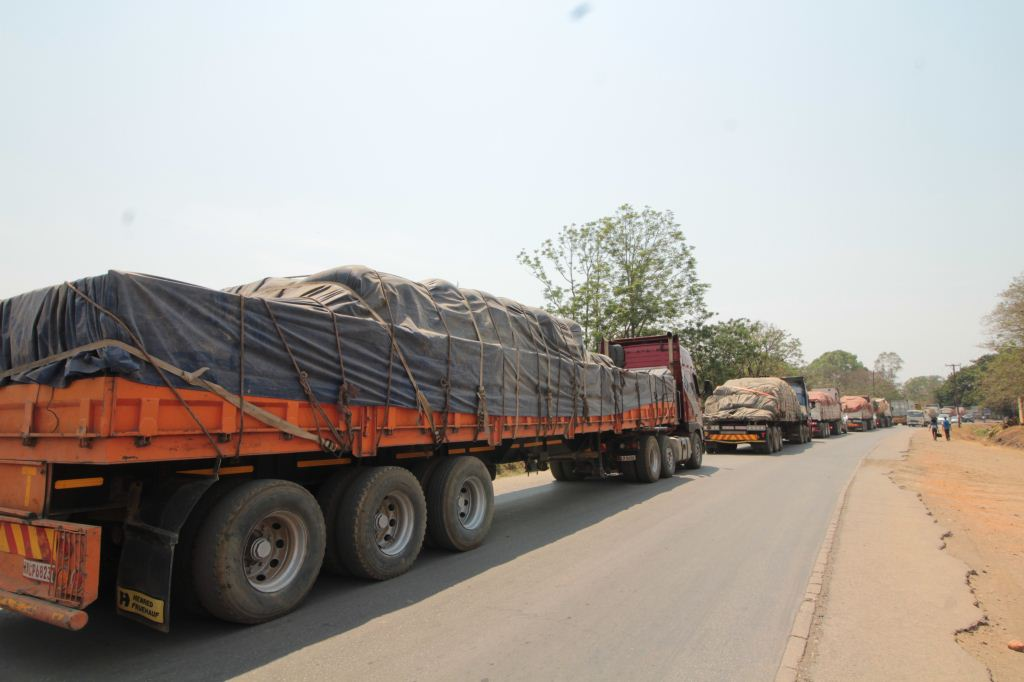What a great sight. The truck convoy on its way carrying food to the needy.