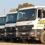 Part of Faber Vervoer's fleet of 30, mostly specialised crane trucks.