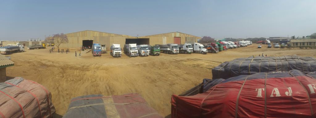 This magnificent picture gives an idea of the large scale of the operation with this 'herd' of trucks finally loaded and waiting to form up in convoy to transport the relief maize.