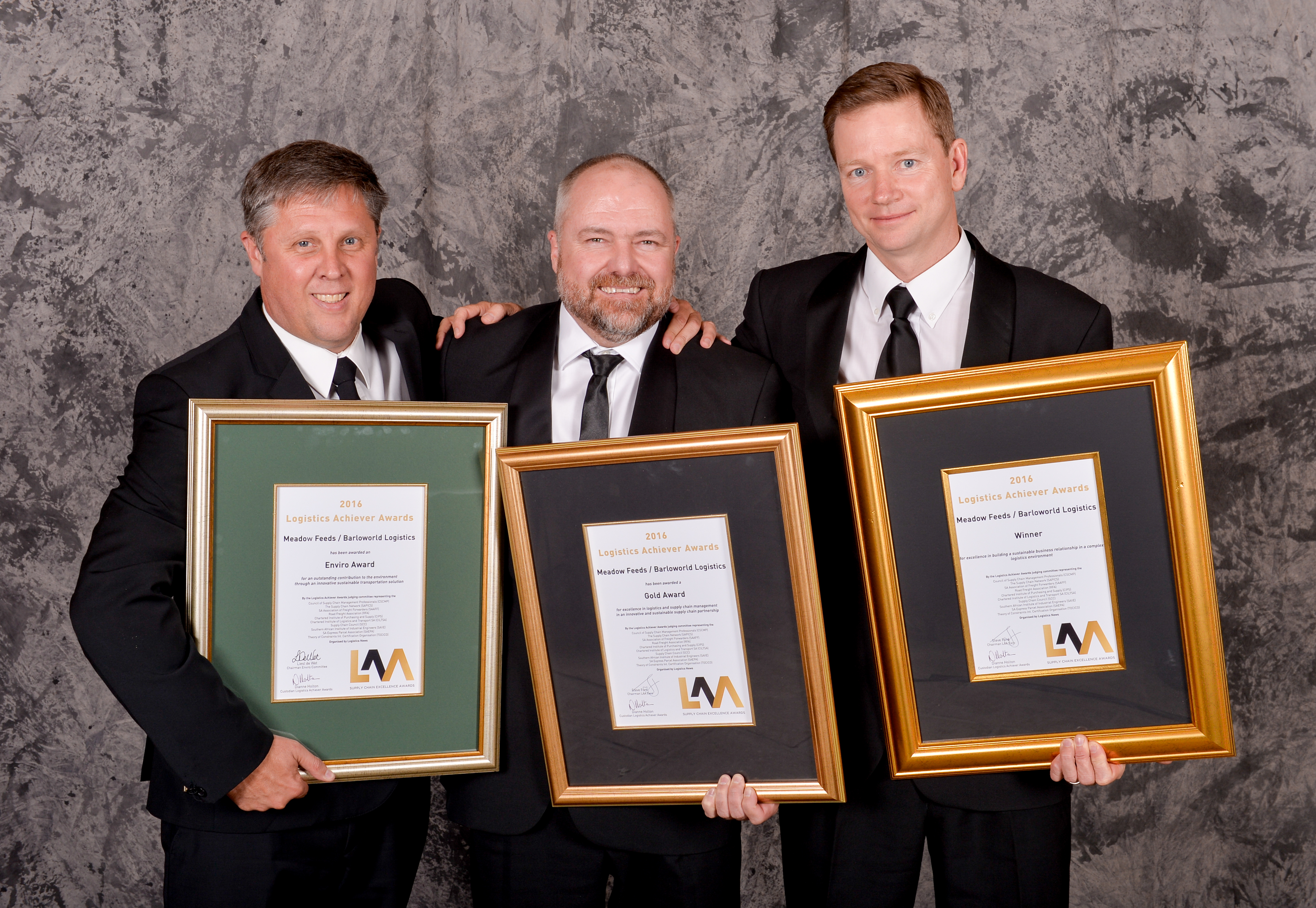 From left to right: Mark Rylance and Heath Dormer (both from Barloworld Transport) and James Berry - COO Meadow Feeds (Western Cape)