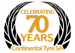 This special laurel wreath logo was created to celebrate the 70th anniversary, showcasing Continental Tyre South Africa's proud legacy.