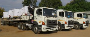 Because the cargo – seen here on three of the Hino 700 series trucks in the Consolidated Transport, Rigging and Logistics fleet - is specialised and usually has to be delivered in a specific time frame, they cannot afford breakdowns. This is where the relationship between the company and the Hino dealer comes into its own.