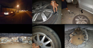 "The picture above of a night roadside gathering was not the meeting point for friends to gather before heading off to a party. Rather, it was a number of motorists who had to stop to change their burst tyres and damaged rims after hitting the pothole shown above. FleetWatch editor Patrick O'Leary stopped to chat to the pothole victims and see the cause of the mayhem. Note that awful pothole and then note the razor-sharp edge of the top of the pothole when viewed from inside. It's no wonder such damage is incurred to tyres and rims as is seen here. The only plus here is that when FleetWatch reported this to the JRA, it too was fixed within two days. Potholes are dangerous and costly to motorists and truckers and it is thus FleetWatch welcomes the R88-million mayoral intervention to address the pothole repair backlog throughout the city. As Mayor Mashaba says: ""To have a thriving economy, you need a transport network which functions like a well-oiled machine."" These pictures show that potholes bring the desired well-oiled machine to a grinding halt."