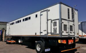 The exterior view of the new 12,5m trailers that were built for PCubed (Pty) Ltd to be used to conduct learner driver license tests.