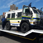 The flatbed trailer designed by Serco for the South African Police Services will be used to transport Nyala armoured vehicles to and from various destinations.