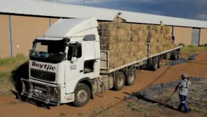 One of the three trucks used by Volvo Trucks to deliver feed to farmers to alleviate the effects of the drought. This one, aptly named 'Boytjie', travelled 160 457 kms around the country on its mission