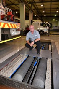FleetWatch was thrilled to see that a brake roller tester and diagnostics tester have been added to the equipment brought across from the Germiston facility. Sidney Sanders, service manager of Hino Pomona, seen here on the brake roller tester, says 92% of all customers are requesting brake tests on this equipment. Given the proliferation of brake faults we find on our Brake & Tyre Watch exercises, FleetWatch contends that every single truck coming in for a service should have a brake test conducted on such equipment. This is Sanders' aim.