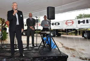 "Ernie Trautmann, Vice President of Hino SA, addressing guests at the opening of Hino Pomona. ""The rain falling today is a good sign for the future of this dealership,"" he joked."