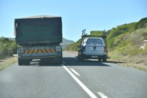 According to the Automobile Association, traffic officers need to be deployed on the  roads monitoring moving violations such as reckless and negligent driving as seen  here. Just seconds after this bakkie overtook this truck on a solid white line on a blind  rise, another truck came past in the opposite direction. Reckless and negligent driving  such as this needs to be halted.