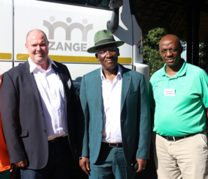 At the launch were, from left: Blake Ferguson, Barloworld Transport; Deputy Minister General Bheki Cele, Department of Agriculture, Forestry and Fisheries; and Christian Ntombela, Timber24.