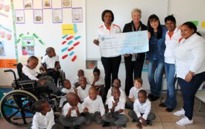 It was a happy day for the children of Forest Town School when Cargo Carriers donated R164 359.56 to this worthy organisation. Seen at the handover are, from left: Pauline Legodi, Cargo Carriers human resources director; Trish Keega, deputy principal of Forest Town School; Ingrid Middelton-Vey, fundraiser at the school; Diana Padayachee, Cargo Carriers' group audit and risk manager; and Anna Dikotla, Grade R Level 1, Forest Town School.
