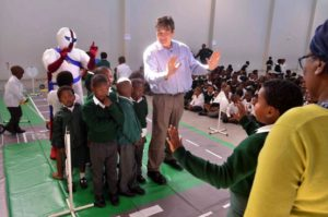 The Road Freight Association's Gavin Kelly in full swing with kids from Sophakama Primary School teaching them about road safety with Crossroads and the Road Freight Association's 'Safety For All' campaign. At the back is Captain Safety, a special RFA mascot who, with the help of other fun teaching aids, helps make the event enjoyable for the kids.