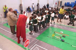 The second phase of the Captain Safety programme kicked off in 2015 by introducing the Road Safety curriculum through training manuals and other teaching aids. These aids included mats painted with roads, houses, and street signs for children to play on and learn.