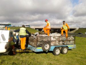 Around 10 cubic metres of litter is collected per day per team on days that debris and litter is collected.