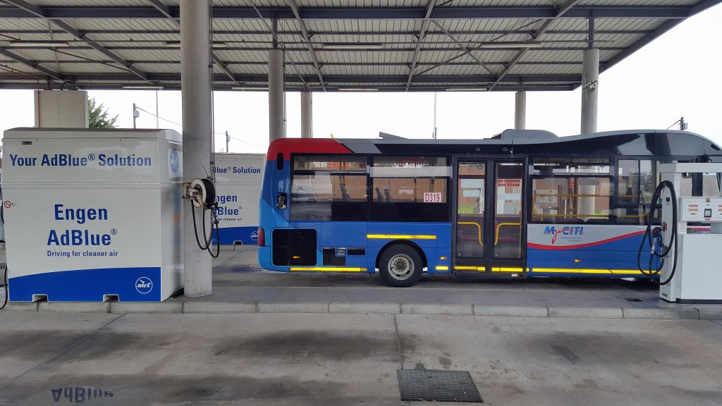 My CCIT buses in Cape Town use AdBlue® which is used in conjunction with selective catalytic reduction (SCR) units in exhaust systems. It reduces nitrogen oxide (NOx) emissions in diesel engine exhaust gases in line.