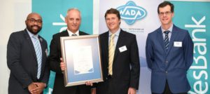 A happy grouping at the NADA awards function where Hino South Africa received a platinum award. From left: Ghana Msibi, sales GM, Wesbank Motor; Ernie Trautmann, vice president, Hino South Africa; Mark Finlayson, CEO of Wesbank Motor; and Greig Pringle, vice chairman of NADA.