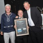 Joerg Essig, CEO of Mercedes-Benz Financial Services, with Robbie van der Merwe, dealer principal for Mercedes-Benz Commercial Vehicles Durban, which won the award Dealer of the Year, Best Sales Performance from Mercedes-Benz Financial Services. On the right is Mike Honiball, Mercedes-Benz Financial Services sales director.