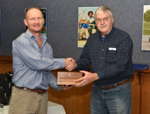"Committee member of the IRTE Johannesburg Centre, Jim Campbell (right), presents a gift to Craig Proctor-Parker in appreciation for his presentation titled ""Traffic Accident Investigation, Reconstruction and Cause Analysis'. This could well have been the last IRTE meeting."