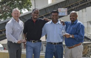 Happy at having taken home the winner's trophies are, from left: Russel Wearne, AfriSam regional manager CM North Readymix; Jabulani Tshabalala, AfriSam production team leader, Jukskei A&B Readymix; Kevin Naidoo, AfriSam operations manager Central Cluster; and Brian Sithole, AfriSam production team leader Wynberg A&B.