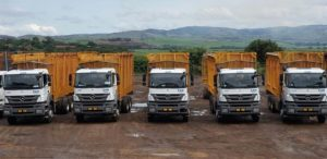 Part of the fleet of 42 rigid-drawbar truck combinations operated by Zululand Agricultural Holdings.