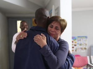 At a reunion organised by the Hart family, an emotional and grateful Janet Hart could not hold back her tears as she hugged Time Freight driver, Sibusiso Matrick Mbhele, who rescued her from her car which was trapped on the flooded N2 highway. This picture, taken by Nicole Alisha, was posted on Facebook and was shared hundreds of times. It's all good stuff this.