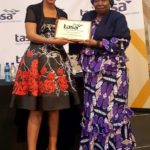 TASA president, Mary Phadi, hands Dr Nkosazana Dlamini-Zuma, Member of Parliament and former African Union Chairperson, a token of appreciation after her keynote speech at the TASA conference.