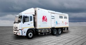 This mobile TB screening clinic was built by TFM for LTE Medical & Supplies to supply a turnkey solution for the Mozambican Ministry of Health. It comprises a special body with X-ray, operator and laboratory facilities built onto a 6x4 UD Quan CW 26 370 supplied by UD Trucks Southern Africa.
