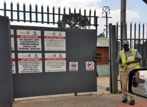 Many companies have an alcohol policy which dictates that a compulsory alcohol check is done manually by a security guard before any visitor is allowed through the gates - such as seen here at the entrance to Sabot's Pomona premises. Note the yellow Lion Alcoblow Rapid Test unit in the guard's hand. However, ALCO-Safe has taken this a step further specifically for employees with its Alcontrol system which allows employees to do a voluntary self-check alcohol test in an effort to empower employees to make their own decisions about whether or not to clock in for work if they test positive.