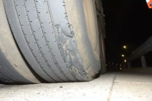 Operate an appropriate and well-maintained fleet of vehicles. This illegal and dangerous tyre shows no concern by the operator for correct maintenance practices. It is down to the beading and is an accident waiting to happen.