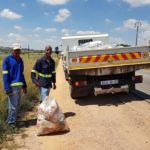 Unsung heroes – MJ Todi (left) and Coyote Mathibela along with their Isuzu NPR 400 ensuring that South Africa stays clean for all of us. Salute!